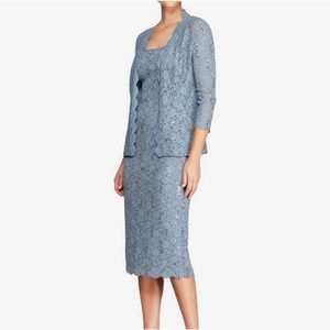 Alex Evenings Sequined Lace Dress with Jacket